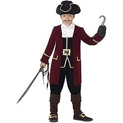 Smiffy'S 43997S Traje De Capitán Pirata De Lujo Con Chaqueta, Falso Chaleco Y Pantalones, Negro, S - Edad 4-6 Años