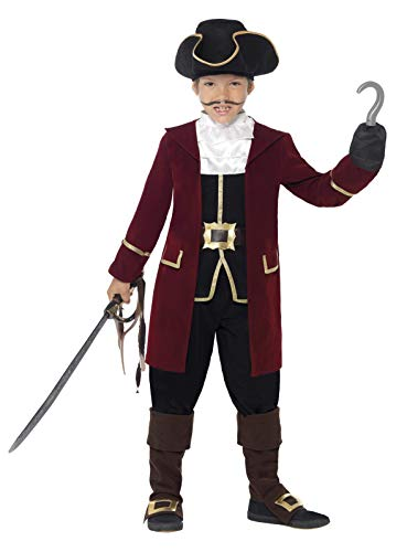 Smiffys Kinder Jungen Piraten Kapitän Deluxe Kostüm, Jacke, Westenattrappe, Hose, Halstuch und Hut, Größe: S, 43997