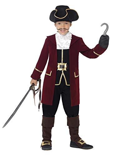 Smiffys Costume Deluxe Capitaine Pirate, Noir, avec Veste, Gilet, Pantalon, Foulard et C