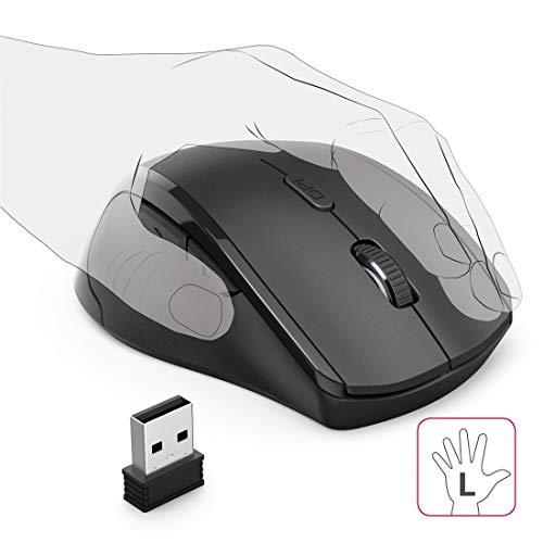 Hama Linkshänder Maus (Maus Linkshänder kabellos, mit USB Nano Empfänger, vertikal, 800 - 1600 dpi, Ein-/Ausschalter, 3 Tasten inkl. Browser-Tasten, 2,4 GHz) schwarz