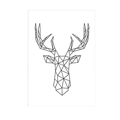 Impression beiguoxia - En forme de cerf géométrique - Sans cadre - Peinture pour décorer le mur d'une chambre, Toile, noir/blanc, 30x40cm