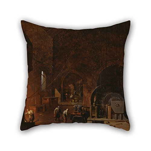 slimmingpiggy-oil-painting-godfrey-sykes-interior-of-an-ironworks-pillowcover-16-x-16-inches-40-by-4