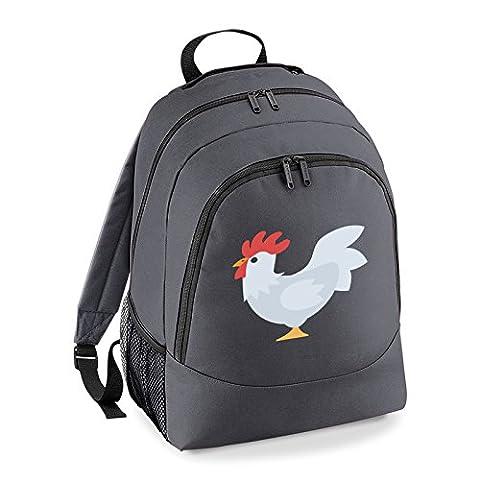 Apparel Printing Emoji Chicken Universal Backpack, Graphite