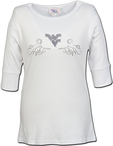 Nitro USA NCAA Damen Halblärmliges Top mit Strass Flying WV Swirl, Damen, weiß, Large -