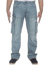 Hommes Coupe Standard Résistant Travail Cargo Combat Utilitaire Jeans Pantalon