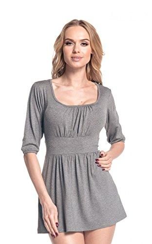 Glamour Empire Damen Tunika Ausgestellter Schnitt Top Shirt mit 3/4-Arm 940 (Grau Melange, 50) (3/4-Ärmel-empire Top)
