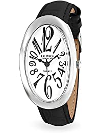Bling Jewelry Reloj Geneva para Mujer Platino Óvalo Esfera Blanca con Cuero Negro