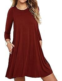 LILBETTER Frauen Langarm Tasche Casual Loose T-Shirt Kleid