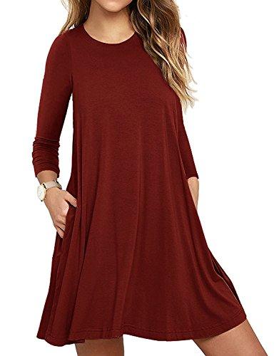 LILBETTER Womens Basic Causal Tunic Top Mini T-Shirt Kleid (Weinrot S) (T-shirt Rotes Tasche)