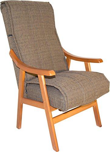 Sillón de madera maciza color cerezo y tapizado agua marron para salón comedor o dormitorio. 110x69x59cm. Envío montado.