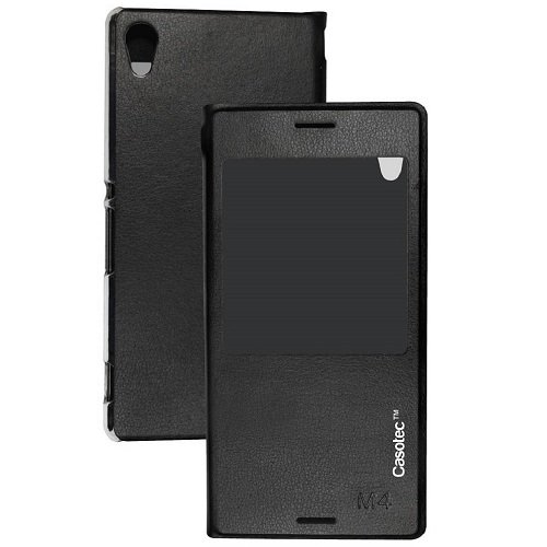 Casotec Premium Caller-id Flip Case Cover with Silicon TPU Back for Sony Xperia M4 Aqua - Black  available at amazon for Rs.379