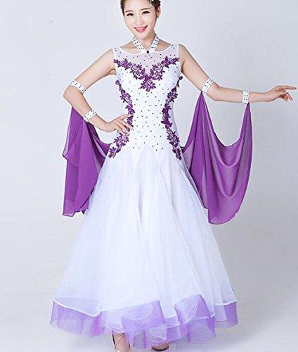 FGDJTYYJ Modernes Spiel Kleid Rock ärmelloses Applique Ballroom Tanzkleid Walzer Tanzrock, m -