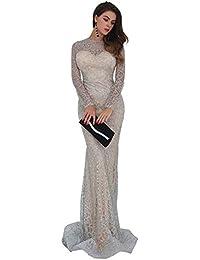 ff62140ab2be Missord Women's O Neck Long Sleeve Pattern Glitter Slim Maxi Elegant Dress  FT8581
