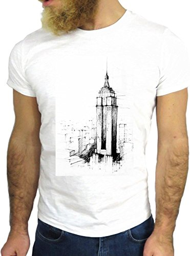 T-SHIRT JODE GGG24 Z0693 SKYSCRAPER FUN COOL VINTAGE ROCK FUNNY FASHION CARTOON NICE AMERICA BIANCA - WHITE