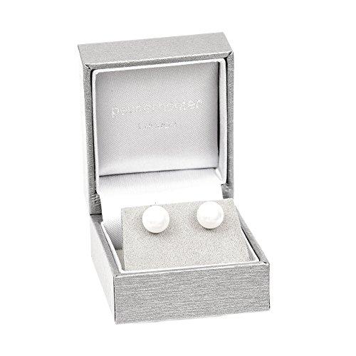 Lagerräumung. 925 Silber Ohrstecker mit runden weißen Kristall Perlen aus SWAROVSKI®.Luxus silberne Geschenkbox.