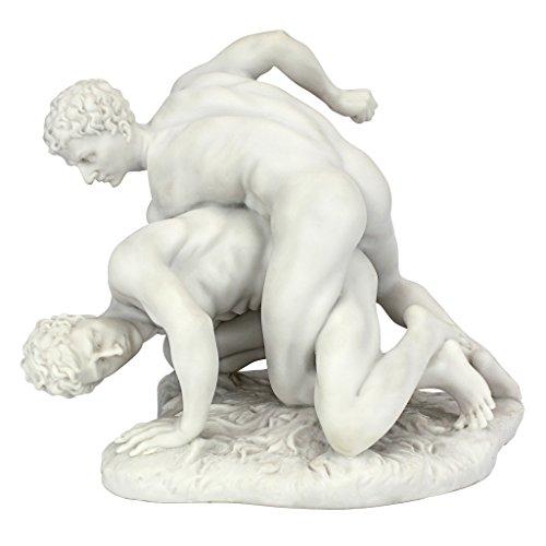 Design Toscano Zwei Ringer Skulptur, Marmor-Kunstharz-Verbindung, weiß, 2,25 x 14 x 21,5 cm 2 Ringer