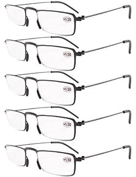 Eyekepper Gafas de lectura 5-Pack Marco de metal estampado Recta Delgado estilo mitad-ojo negro +2.0