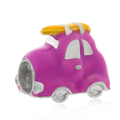 Charme Pandora Auto (Lila Travel Auto Charm 925Sterling Silber Bead passgenau Europäische Charm-Armband)