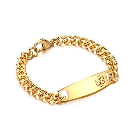 WANGLXTC Titanium Stahl Armband, Panzerkette Edelstahl Armbänder Kette Armreifen Link Handgelenk Manschette für Männer Biker Herrenschmuck Armband, Golden