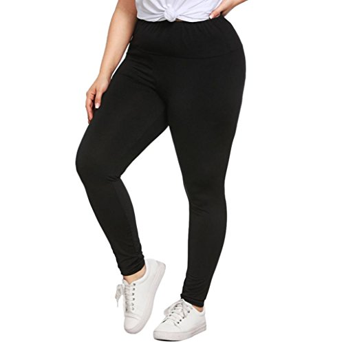 Damen Yoga Leggings Hose,Saingace Mode Damen Plus Size Leggings Hosen Yoga Sport Loch Freizeithosen (XL, Schwarz) (Plus Size Workout Hose)