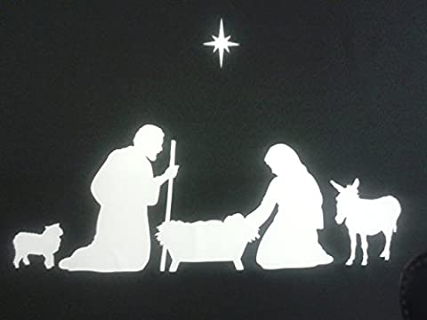 Nativity Christmas family window stickers including sheep, donkey and star SALE