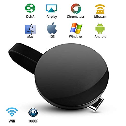 Wireless Display Dongle Receiver,Real Time Mirror Share HD Video/Game from Cell Phones/Tablet PC to TV Screen by HDMI Interface Support Airplay Mirror/DLNA/Miracast