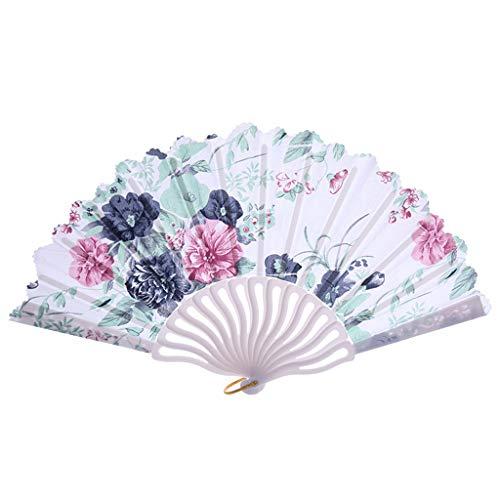 REALIKE Damen Handfächer Chinesischer Retro Blumen Stoff Fächer Bambusgriff Wandfächer Hochzeit Party Tanzen Fasching Weiß Blüten Dekoration Geschenk Tanzabend Kostüm Maske Karnevals