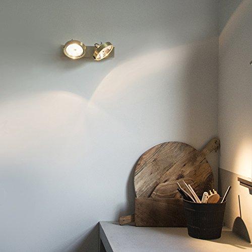 QAZQA Modern Spot / Spotlight / Deckenspot / Deckenstrahler / Strahler / Lampe / Leuchte Go 2-flammig Gold / Messing / Innenbeleuchtung / Wohnzimmer / Schlafzimmer / Küche Aluminium Rund / Rechteckig / G53 Max. 2 x 50 Watt