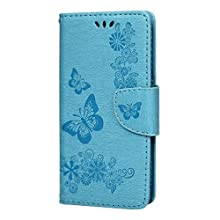 Samsung Galaxy S10 Case, Protective Flip Soft PU Leather Notebook Embossed Butterfly Kickstand Card Holder Bumper Cover for Samsung Galaxy S10, Blue