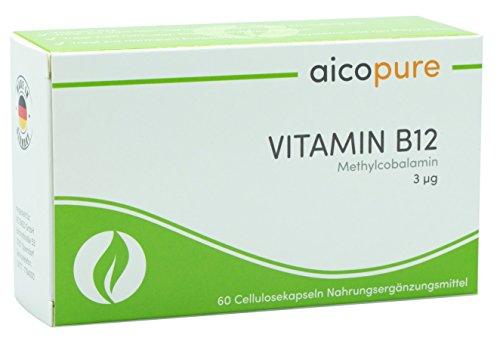 VITAMIN B12 3 µg • reines Methylcobalamin für höchste Bioverfügbarkeit • vegan • Kapseln • Made in Germany (60 Kapseln)