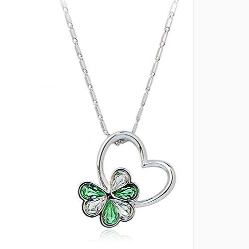 catena di Clover clavicola, collana di cristallo, fortunato erba quattro foglie, i gioielli sul posto di lavoro , clear green