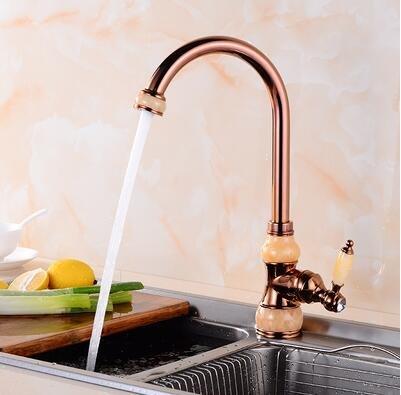 Deluxe Wasserhahn Messing und Jade Küche Wasserhahn Gold Kupfer Wasser heiß kalt Waschbecken wasserhahn Gemüse Waschbecken Mischbatterie Wasserhahn drehen, Tippen, Rose Gold