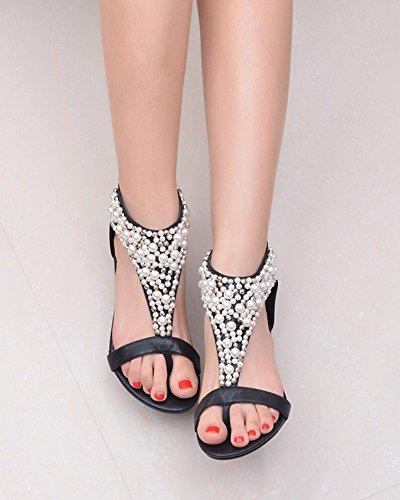 Damen Offene Sandalen mit Keilabsatz Römische Sommer Böhmen Süß Perlen Sandalen Clip Toe Strand Schuhe Schwarz