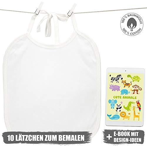 Weiße Lätzchen zum Bemalen für Babyparty, Baby Shower, 10 Stück inkl. eBook