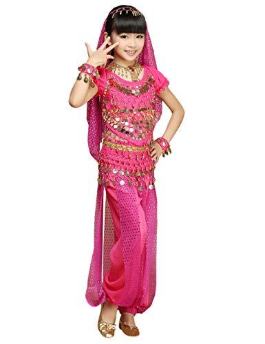 Outfit Kostüm Roten Jasmin - besbomig Kinder Mädchen Bauchtanz Kostüm - Kinder Chiffon Ziemlich Indien Tanz Outfit Performance-Kleid 5 Stück Set