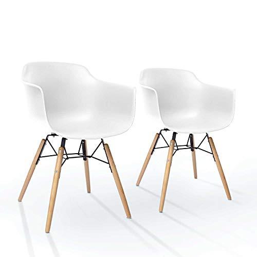 Ltd Edition Living [ 2er Set ] esszimmerstühle - weiß - mit armlehne   Mid Century Design   Kunstoff Retro Schalenstuhl - Buchenholz Beinen   Sehr belastbar Gemeinsam sitzen -