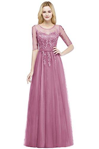MisShow Damen elegant Tüll Applique Ballkleid Brautjungfernkleid Abschlusskleid Altrosa Gr.40