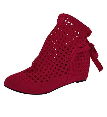 YE Damen Flach Sommer Herbst Stiefeletten mit Schnürung Cut Out Sandalen Bequem Schuhe