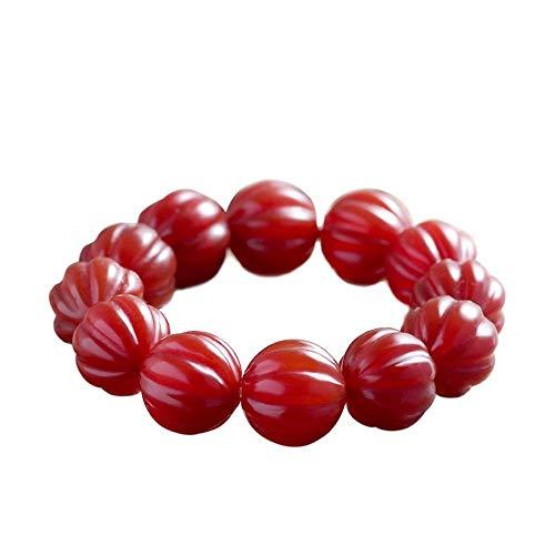 Mkxiaowei 20mm authentische rot Agate Einzelring Kürbis Perlen Hand String Männer und Frauen rote Hand Zeichenfolge Juwel ()