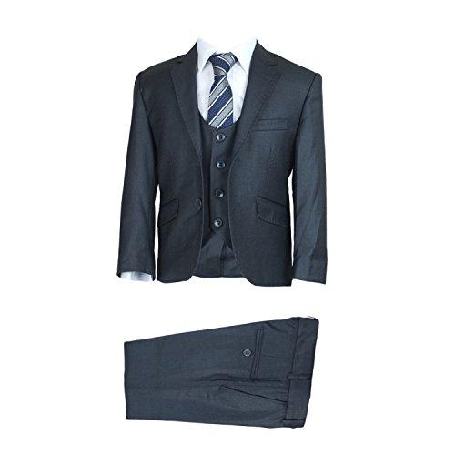 SIRRI Exklusiv Slim Fit Formelle Pagenjunge Anzüge, Designer 3 TEILE Jungen Hochzeit Ball Kommunion Anzug - Dunkelgrau, 146 (Herren-designer Anzüge)