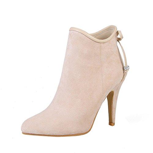 YE Damen Ankle Boots Stiletto High Heels Spitze Stiefeletten mit Reißverschluss und Schleife 10cm...