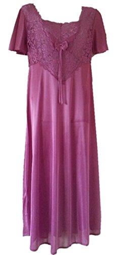 Aimerfeel Satin lange Nachthemd mit Effekt-Spitze mit kurzen Ärmeln, Größe (42-44), etwas mehr als 3 Viertel Länge, 119 cm lang (Voll Kurze Satin)