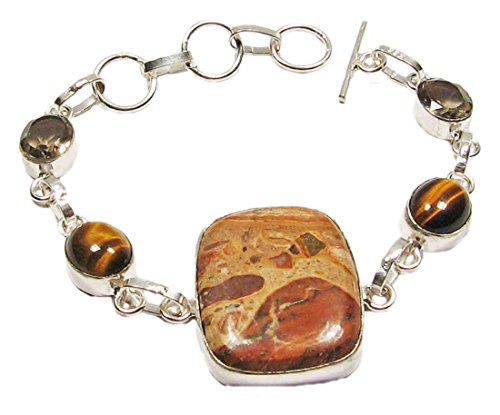 mabo-collection-damen-armband-925-silber-plated-mit-popeye-jaspis-tigerauge-rauchquarz-lange-20cm