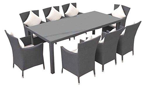 ARTELIA - Ceres XL Polyrattan Essgruppe, Gartenmöbel-Set für Garten, Terrasse, Wintergarten und Balkon, Sitzgruppe grau