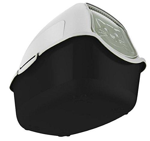 15 65 maison de toilette pour chat noire blanche. Black Bedroom Furniture Sets. Home Design Ideas