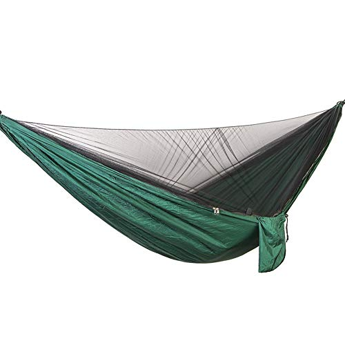 DaiHan Camping Hängematte mit Zipper Moskitonetze Multifunktionale Outdoor Pop-Out Camping Hängematte für Einzelperson über Dunkelgrün-Schwarz M