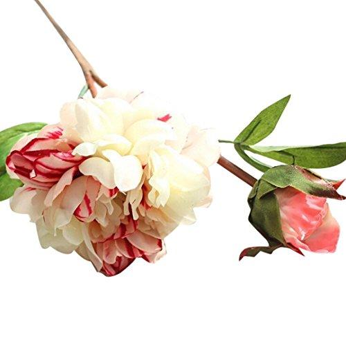 Flores Artificiales,Xinan Artificial Flor de Peonía Decoración 2017 Nuevo (Blanco)