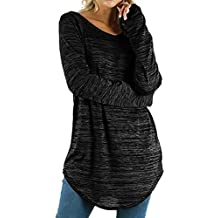Lazzboy Womens Tops Blouse Shirt Long Sleeve O Neck Cotton Basic Pullover