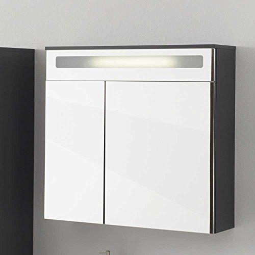 #Badezimmer Spiegelschrank in Weiß und Anthrazit 80 cm breit Pharao24#