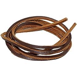 Cuero genuino cordones Square 3 mm de ancho Colores sólidos 160cm de largo para zapatos de trabajo Botas / barco de Brown oscuro